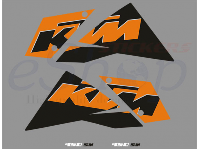 Ktm 950 Sm 2007 2008 Black Orange Set Eshop Stickers