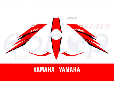 Race Cars Names >> YZF R6 2006 White Red set | Eshop Stickers